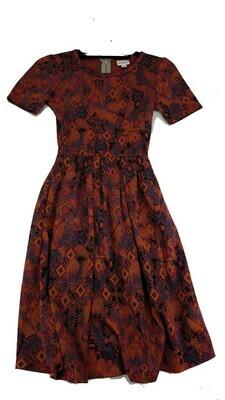 AMELIA Pink Orange and Blue Geometric XX-Small (XXS) LuLaRoe Womens Dress for sizes 00-0