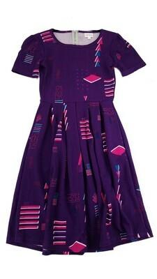AMELIA Purple Fuchsia and Blue Geometric XX-Small (XXS) LuLaRoe Womens Dress for sizes 00-0