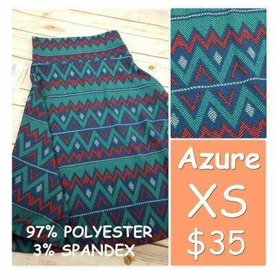 AZURE XSmall (XS) LuLaRoe Womens Skirt
