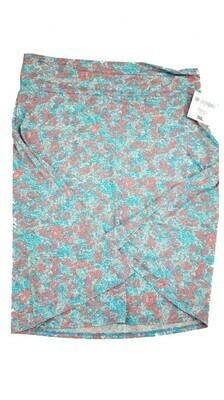 AZURE XXX-Large (3XL) Light Blue and Lavender Floral LuLaRoe Skirt fits 22-24