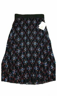 LuLaRoe Jill Black Blue and Coral X-Small (XS) Accordion Women's Skirt fits Sizes 2-4