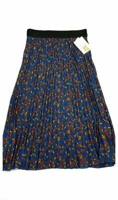 LuLaRoe Jill Navy Blue Gold and Maroon X-Small (XS) Accordion Women's Skirt fits Sizes 2-4
