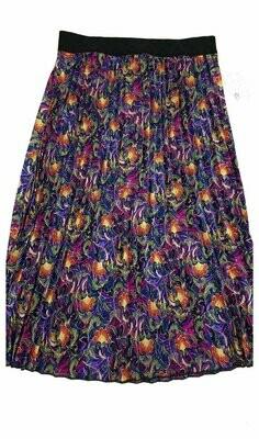 LuLaRoe Jill Olive Blue Fuchsia Paisley Floral Small (S) Accordion Women's Skirt fits Sizes 6-8