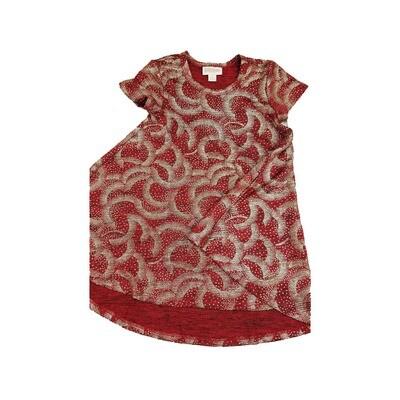 Kids Scarlett LuLaRoe Geometric Elegant Collection Deep Red with Gold Polka Dots Swing Dress Size 6 fits kids 5-6