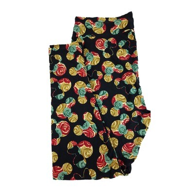 LuLaRoe TC2 Disney Mickey and Minnie Mouse Roses Black Gold Red Leggings fits Adult Sizes 18+
