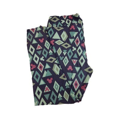 LuLaRoe TC2 Disney Mickey Mouse Diamonds and Triangles Green Dark Green Pink Leggings fits Adult Sizes 18+