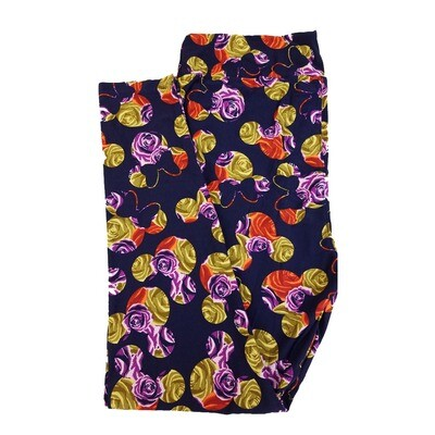 LuLaRoe TC2 Disney Mickey and Minnie Mouse Roses Dark Blue Gold Purple Leggings fits Adult Sizes 18+