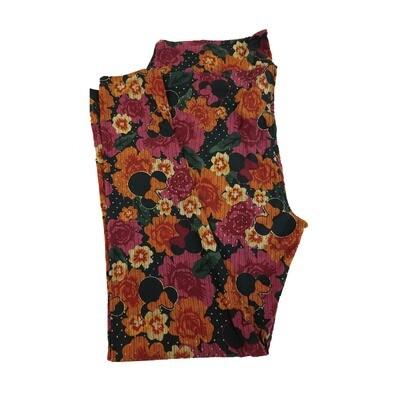 LuLaRoe TC2 Disney Minnie Mouse Flowers Black Orange Pink White Polka Dot Leggings fits Adult Sizes 18+