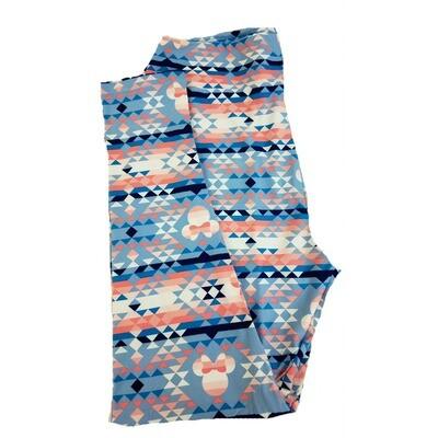 LuLaRoe TC2 Disney Minnie Mouse Geometric Light Blue Pink Cream Leggings fits Adult Sizes 18+
