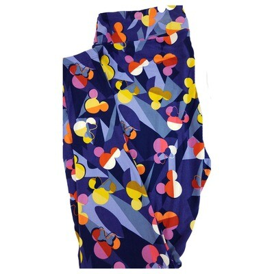 LuLaRoe Tall Curvy TC Disney Mickey and Minnie Mouse Geometric Rainbow Adult Leggings fits 12-18