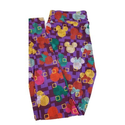 LuLaRoe Tall Curvy TC Disney Mickey and Minnie Mouse Blue Red Yellow Teal Geometric Polka Dot Spiral Adult Leggings fits 12-18