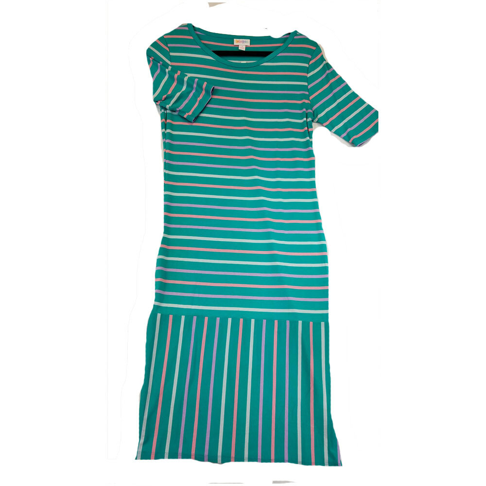 JULIA Small S Teal Pink and Purple Stripe Form Fitting Dress fits sizes 4-6