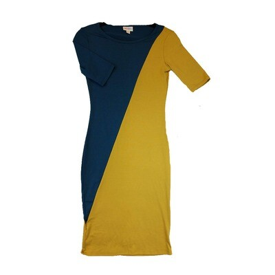 JULIA XX-Small XXS Solid Navy and Mustard Yellow Form Fitting Dress fits sizes 00-0