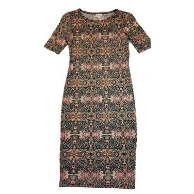 JULIA XX-Small XXS Light Pink and Black Trippy Geometric Form Fitting Dress fits sizes 00-0