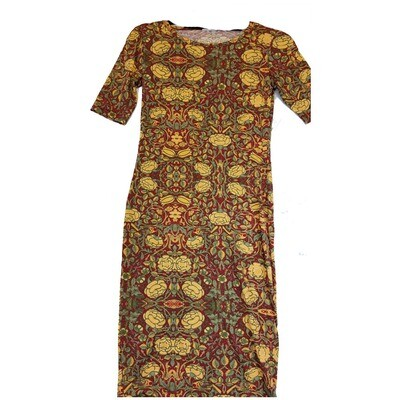 JULIA XX-Small XXS Yellow and Deep Red Floral Form Fitting Dress fits sizes 00-0
