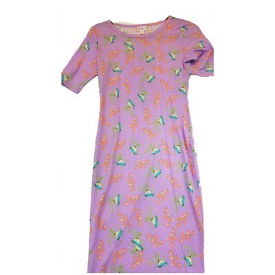 JULIA XX-Small XXS Lavender, Pink and Blue Bird Bluejay Floral Form Fitting Dress fits sizes 00-0