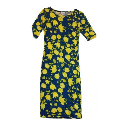 JULIA XX-Small XXS Blue and Yellow Roses Floral Form Fitting Dress fits sizes 00-0