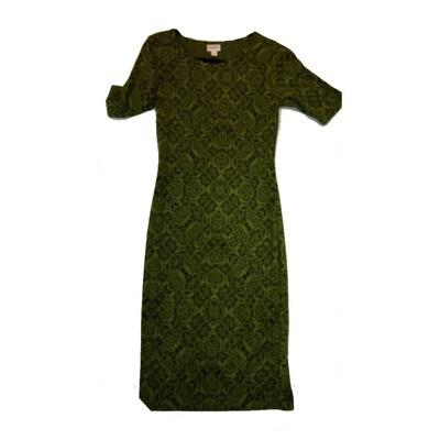 JULIA XX-Small XXS Green and Black Geometric Form Fitting Dress fits sizes 00-0