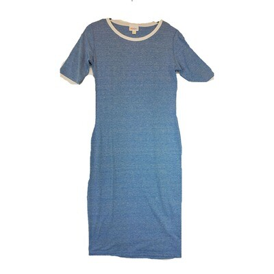 JULIA XX-Small XXS Solid Blue with Off White Trim Form Fitting Dress fits sizes 00-0