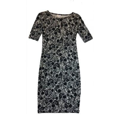 JULIA XX-Small XXS Black and White Paisley Geometric Form Fitting Dress fits sizes 00-0