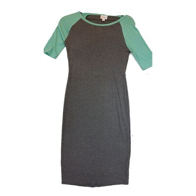 JULIA XX-Small XXS Solid Dark Grey with Green Sleeves Form Fitting Dress fits sizes 00-0