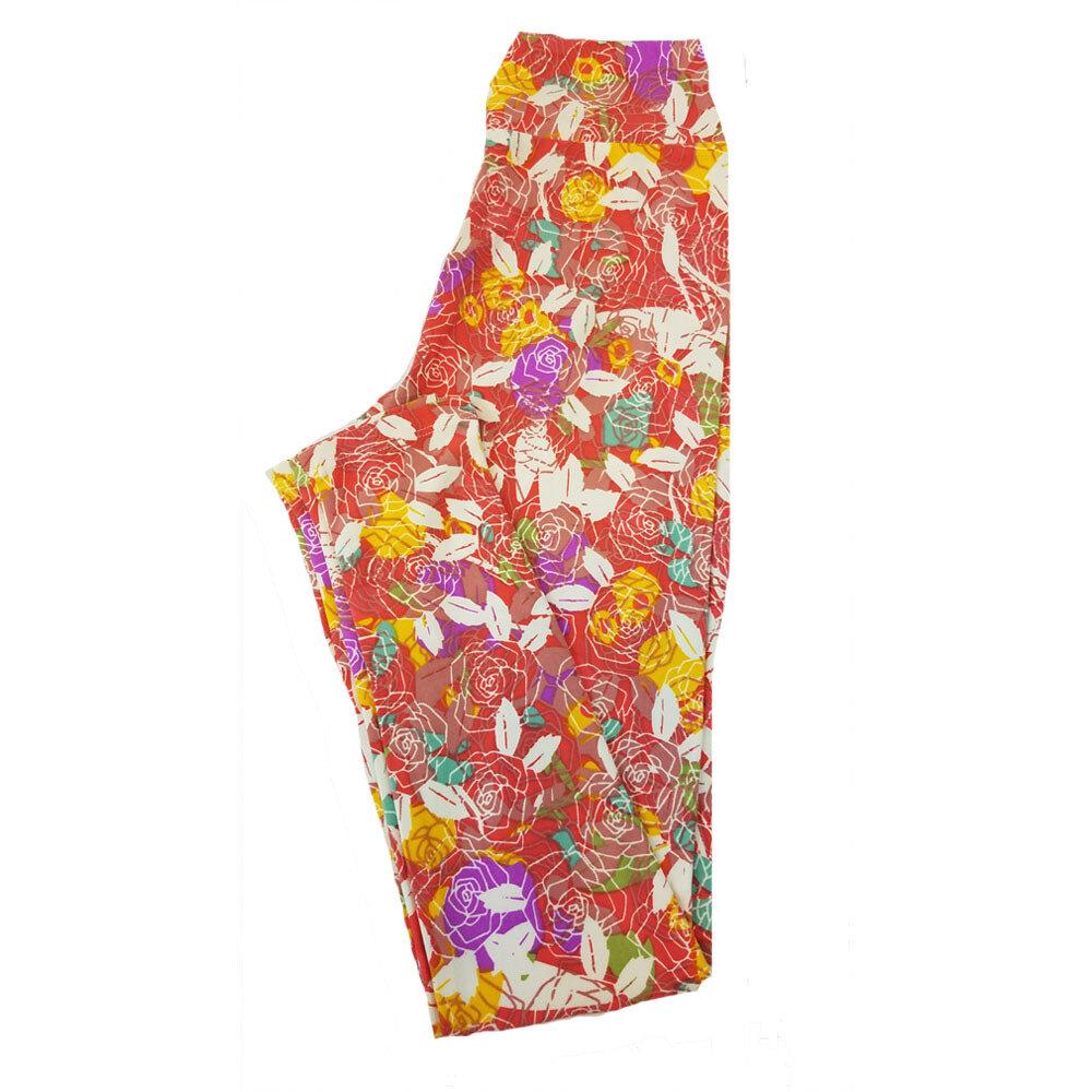 LuLaRoe Tween Roses Red Pink Peach Yellow Leggings Fits Adult Sizes 00-0