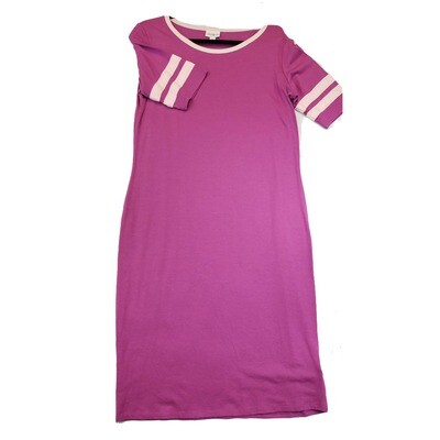 JULIA Large L Solid Pink with Light Pink Stripes Form Fitting Dress fits sizes 12-14