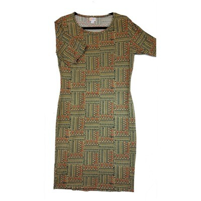 JULIA Large L Olive and Pink Patchwork Parquet Stripe Form Fitting Dress fits sizes 12-14