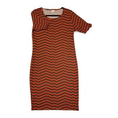 JULIA Large L Red, Orange Yellow and Blue Wavy Stripe Geometric Polka Dot Form Fitting Dress fits sizes 12-14