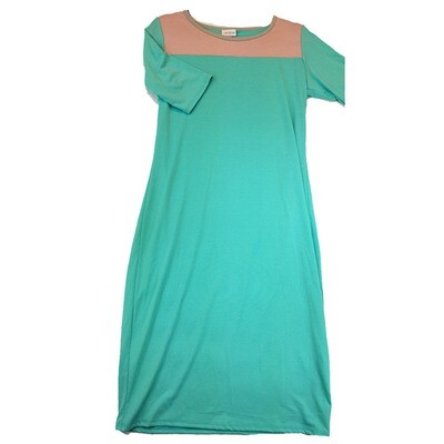 JULIA Large L Solid Mint with Pink Neckline Form Fitting Dress fits sizes 12-14