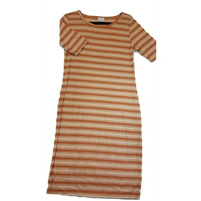 JULIA Large L Dark Orange and White Ribbed Stripe Form Fitting Dress fits sizes 12-14
