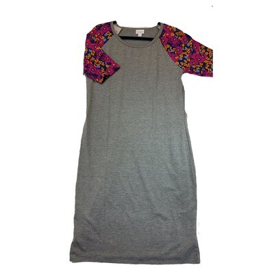 JULIA X-Large XL Solid Grey with Pink Orange and Black Floral Sleeves Form Fitting Dress fits sizes 16-18