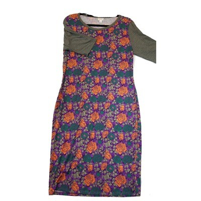 JULIA X-Large XL Orange, Dark Teal and Purple with Grey Sleeves Floral Roses Form Fitting Dress fits sizes 15-18