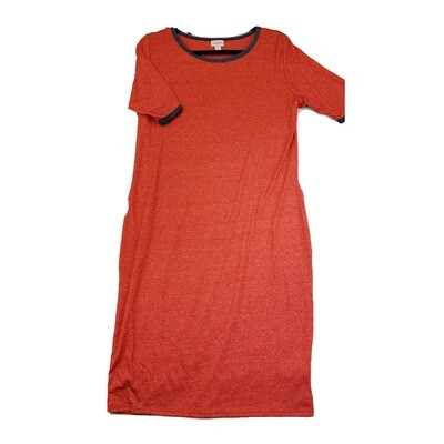 JULIA X-Large XL Solid Red with Charcoal Grey Trim Form Fitting Dress fits sizes 15-18