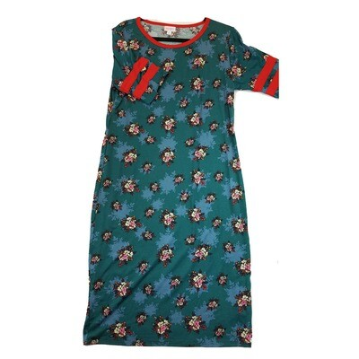 JULIA X-Large XL Grey Pink and Black with Orange Stripes on Sleeves Floral Form Fitting Dress fits sizes 15-18