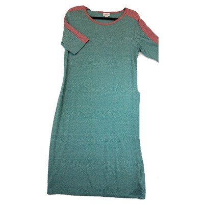 JULIA X-Large XL Solid Turqoise with Pink Shoulder Stripes Form Fitting Dress fits sizes 15-18