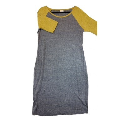 JULIA X-Large XL Solid Grey with Dark Yellow Sleeves Form Fitting Dress fits sizes 15-18