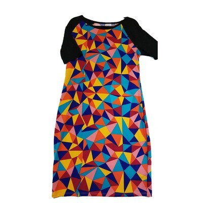 JULIA X-Large XL Blue Yellow Red Pink and Green with Black Sleeves Hypnotic Trippy Geometric Form Fitting Dress fits sizes 15-18