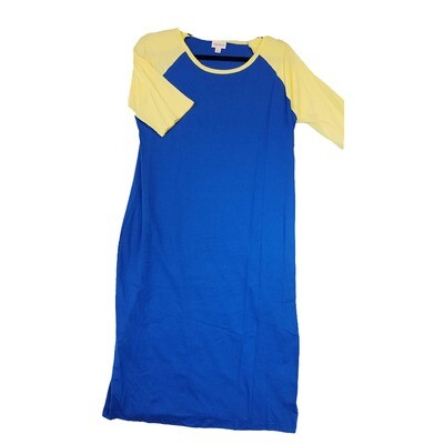 JULIA X-Large XL Solid Blue With Yellow Sleeves Form Fitting Dress fits sizes 15-18