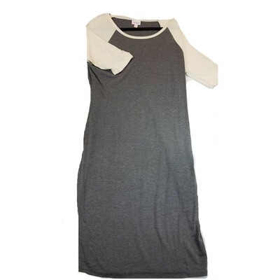 JULIA X-Large XL Solid Grey with Off White Sleeves Form Fitting Dress fits sizes 15-18