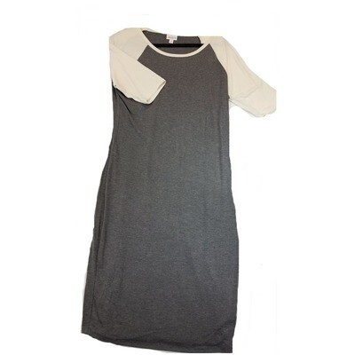 JULIA X-Large XL Solid Dark Grey with Off White Sleeves Form Fitting Dress fits sizes 15-18