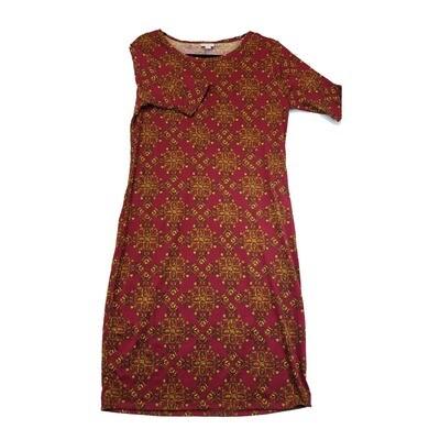 JULIA X-Large XL Maroon and Orange Trippy Geometric Form Fitting Dress fits sizes 15-18