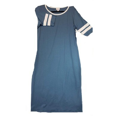 JULIA X-Large XL Solid Blue with White Stripes on Sleeves Form Fitting Dress fits sizes 15-18