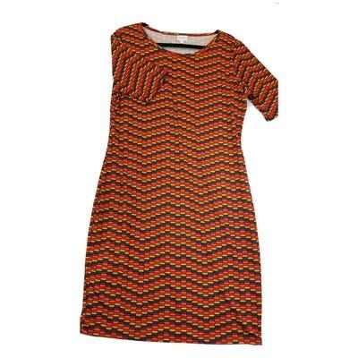 JULIA X-Large XL Red, Orange Yellow and Blue Wavy Stripe Geometric Polka Dot Form Fitting Dress fits sizes 15-18