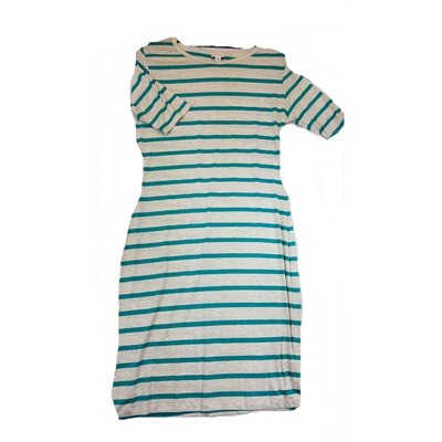 JULIA Medium M Light Grey and Green Stripe Form Fitting Dress fits sizes 8-10