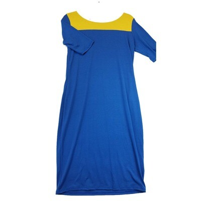 JULIA Medium M Solid Blue with Yellow Neckline Form Fitting Dress fits sizes 8-10