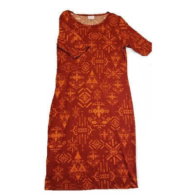 JULIA Medium M Red and Orange Southwest Geometric Form Fitting Dress fits sizes 8-10