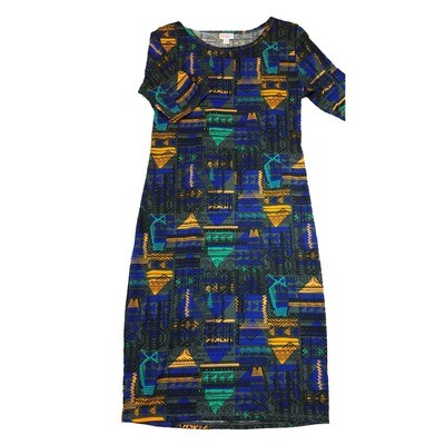 JULIA Medium M Blue Black and Teal Southwest Geometric Patchwork Form Fitting Dress fits sizes 8-10