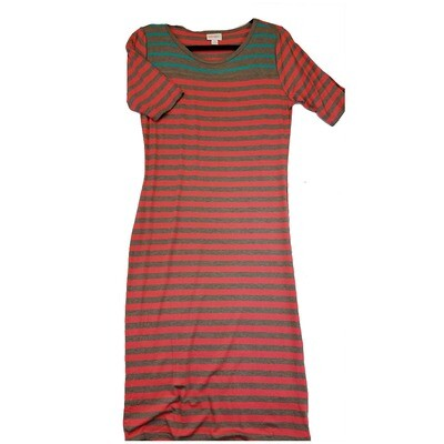 JULIA Medium M Dark Pink, Grey and Teal Stripe Form Fitting Dress fits sizes 8-10
