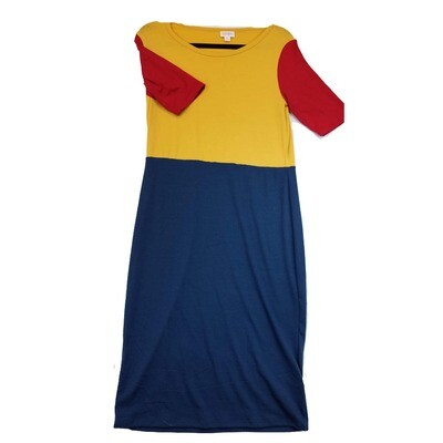 JULIA Medium M Solid Blue and Yellow with Red Sleeves Form Fitting Dress fits sizes 8-10